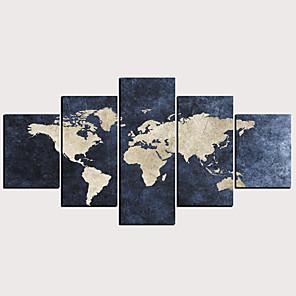 Trykk Valset lerretskunst - Abstrakt Klassisk Moderne Fem Paneler Kunsttrykk