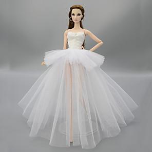 ieftine Haine Păpușă Barbie-Accesorii pentru papusi Haine de Păpușă Rochie de papusa Rochie de mireasă Petrecere / Seară Nuntă Rochie De Bal Floral / Botanic Tul Dantelă Poliester Pentru păpușă de 11,5 inci Jucărie făcut