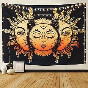 povoljno Zidni ukrasi-psihodelična tapiserija indijski mjesec i sunce s mnogim fraktalnim licima tapiserija nebeska energija mistični tapiseriji zidna tapiserija za spavaću sobu dnevni boravak spavaonica