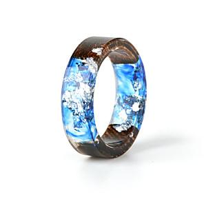 ieftine Inele Cuplu-Pentru cupluri Inel Resin 1 buc Albastru Reșină Lemn Rotund Natură Boho Cadou Bijuterii Temă Florală Floare Botanic Draguț Încântător