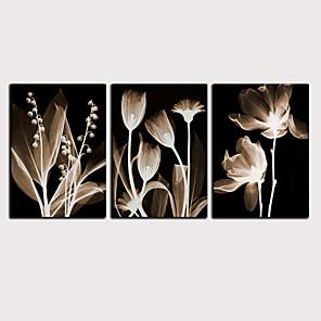 Trykk Valset lerretskunst - Abstrakt Botanisk Klassisk Moderne Tre Paneler Kunsttrykk