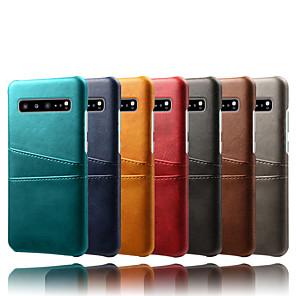 ieftine Încărcătoare Auto-Maska Pentru Samsung Galaxy Galaxy S10 / Galaxy S10 Plus / Galaxy S10 E Titluar Card / Anti Praf / Rezistent la Apă Capac Spate Mată Greu PU piele / PC