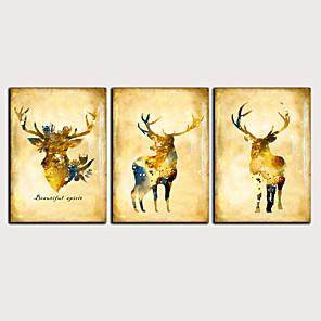 Trykk Valset lerretskunst - Abstrakt Dyr Klassisk Moderne Tre Paneler Kunsttrykk