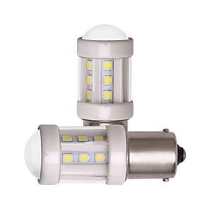 ieftine Lumini de Mașină Spate-2pcs 1156 ba15s 1157 bay15d masina condus becuri super luminos 7w 12v 24v smd 3030 18 led lumina ceramica alb pentru lumina de semnalizare lumina frână parcare ceata lumini de ceață