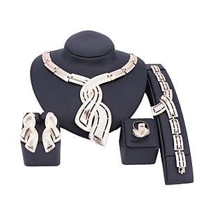 ieftine Produse Fard-Pentru femei Auriu Seturi de bijuterii de mireasă Link / Lanț Val Vintage Ștras cercei Bijuterii Auriu Pentru Nuntă Logodnă Cadou 1set / Cercei