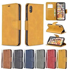 Недорогие Кейсы для iPhone-чехол для яблока iphone xr / iphone xs max магнитный / флип / противоударный чехол для всего тела сплошная твердая кожа pu для iphone xs / x / 8 plus / 7 / 6s plus / 6/5 / 5s / se
