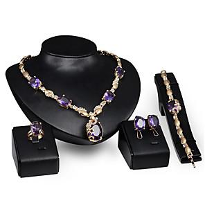 ieftine Becuri LED Corn-Pentru femei Zirconiu Cubic Seturi de bijuterii de mireasă Clasic Binecuvântat Stilat cercei Bijuterii Mov Pentru Nuntă Petrecere 1set / Cercei