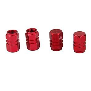 abordables Carrosserie Décoration & Protection-4x pneu jante tige valve d'air bouchons couvre pneu camion de voiture rouge