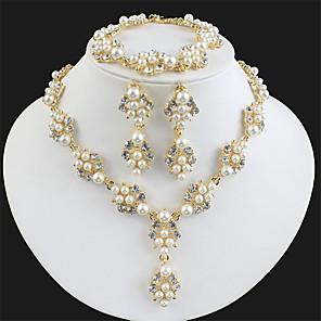 ieftine Ustensile & Gadget-uri de Copt-Pentru femei Alb Seturi de bijuterii de mireasă Link / Lanț Botanic Lux Stil Atârnat Modă Elegant Imitație de Perle Ștras cercei Bijuterii Auriu / Golden 2 / Golden 3 Pentru Nuntă Petrecere Logodn