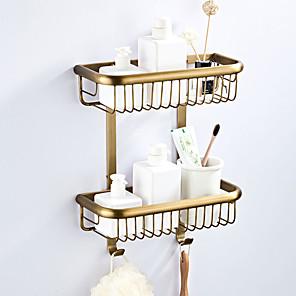 ieftine Gadget Baie-raft pentru baie multistrat / design nou antichitate / alamă de țară 2 buc - baie / hotel baie montată pe perete dublu