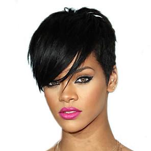 hesapli Peruklar ve Saç Postijleri-Sentetik Peruklar Doğal düz Orta kısım Peruk Şort Koyu Kahverengi Sentetik Saç 4 inç Kadın's Parti Siyah