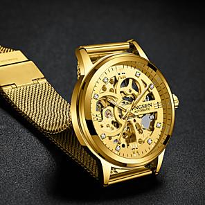 ieftine Ceasuri Bărbați-Bărbați Ceas De Lux Ceas Schelet ceas mecanic Mecanism automat Stil Oficial Stl Oțel inoxidabil Negru / Auriu 30 m Gravură scobită Mare Dial Analog Lux Modă - Negru Auriu