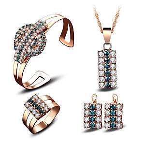 ieftine Becuri LED Bi-pin-Pentru femei Zirconiu Cubic Seturi de bijuterii de mireasă Geometric Fericit Stilat Placat Auriu cercei Bijuterii Curcubeu Pentru Petrecere Zilnic 4 / Cercei