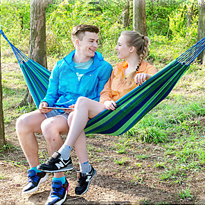 ieftine Produse de Bar-Hamac de Camping Hamac dublu În aer liber Portabil Ușor Comfortabil pânză pentru 1 persoană Camping & Drumeții Călătorie Dungi - Roșu-aprins Albastru 200*80 cm
