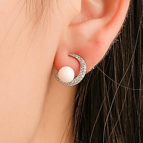 ieftine Produse Fard-Pentru femei Cristal Cercei Stud Cercei Picătură Cercei Set Clasic MOON Simplu Cute Stil Imitație de Perle S925 Sterling Silver cercei Bijuterii Argintiu Pentru Cadou 1 Pair