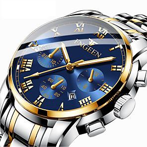 ieftine Ceasuri Bărbați-Bărbați Ceas Elegant Quartz Stil Oficial Stil modern Oțel inoxidabil Negru / Argint / Auriu 30 m Calendar Iluminat Analog Lux Modă - Auriu+Argintiu Negru / Albastru Negru / Auriu Un an Durată de