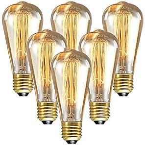 ieftine Becuri Incandescente-6pcs 60 W E26 / E27 ST64 Alb Cald 2200-2300 k Retro / Intensitate Luminoasă Reglabilă / Decorativ Incandescent Vintage Edison bec 220-240 V