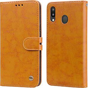 Недорогие Чехлы и кейсы для Lenovo-Кейс для Назначение SSamsung Galaxy Galaxy M20(2019) Бумажник для карт / Флип Чехол Однотонный Твердый Кожа PU