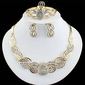 povoljno Kvarcni satovi-Žene Zlato Svadbeni nakit Setovi Poveznica / lanac Val Vintage Umjetno drago kamenje Naušnice Jewelry Zlato Za Vjenčanje Angažman Dar 1set