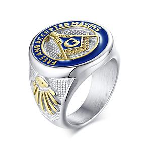 povoljno Prstenje-Muškarci Prsten 1pc Srebro Titanium Steel Ovalnog Dar Dnevno Jewelry Logo