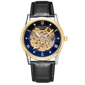 ieftine Walkie Talkies-Bărbați ceas mecanic Mecanism automat Stl Piele Autentică Negru / Maro 30 m Rezistent la Apă Gravură scobită Model nou Analog Modă - Auriu+Negru Auriu+Alb Alb / Argintiu Un an Durată de Viaţă Baterie