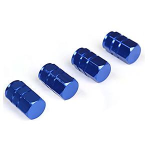 ieftine Decorarea și protecția corpului mașinii-4pcs albastru aluminiu din aliaj de aluminiu masina roata capac roata capac supapa de etansare praf-capace de ventile de aer