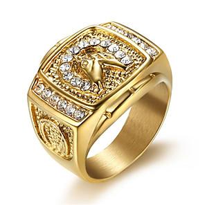 ieftine Inele-Bărbați Inel Zirconiu Cubic 1 buc Auriu Oțel titan Geometric Shape Stilat Zilnic Bijuterii Clasic Speranţă Cool