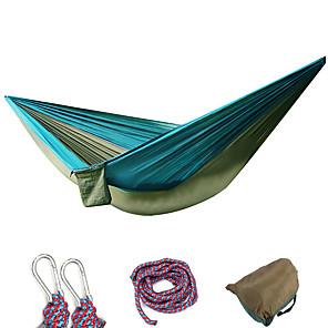 ieftine Lenjerie Pat Tabără-Hamac de Camping Hamac dublu În aer liber Portabil Respirabil Ultra Ușor (UL) Parachute Nylon cu carabine și curele de copac pentru 2 persoane Vânătoare Pescuit Drumeție Galben-Maro Violet Albastru