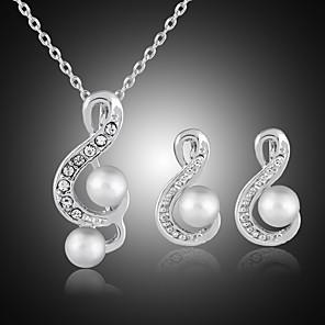 ieftine Cercei-Pentru femei Cercei Stud Coliere cu Pandativ Eliminat Notă Muzicală Stilat Clasic Imitație de Perle Ștras Argilă cercei Bijuterii Argintiu Pentru Zilnic Muncă 1set