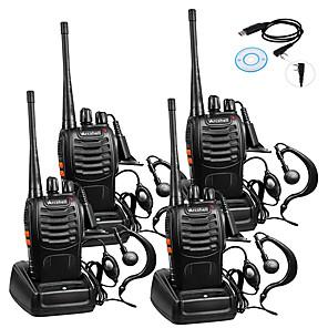ieftine Walkie Talkies-4pcs baofeng bf-888s reîncărcabilă pe distanțe lungi 5w 2800 amh radio-walkie-talkie pe ambele sensuri radio cu 16 canale portabile încorporate în microfon cu torțe cu căști (pachet de 4) 4 pachete de