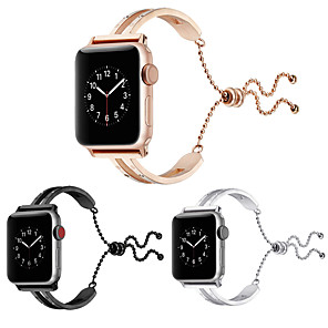 Недорогие Ремешки для Apple Watch-новые женщины 44мм / 40мм / 38мм / 42мм браслет браслет подвеска ремешок браслеты из нержавеющей стали ремешок для часов кисточкой ювелирные манжеты для apple watch 4/3/2/1