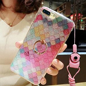 Etui Til Apple iPhone 8 / iPhone 7 Ringholder / Glitter Bakdeksel Fargegradering / Glimtende Glitter Myk TPU