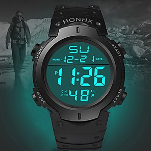 cheap Women's Watches-Men's Sport Watch Quartz Sporty Silicone Black 30 m Calendar / date / day LED Light Noctilucent Digital Fashion - Black Green Blue One Year Battery Life / Stainless Steel