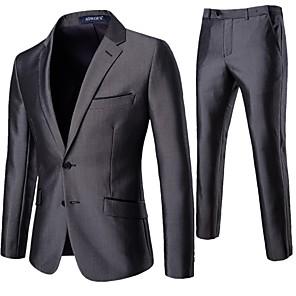 povoljno Kompleti svjetala-Muškarci odijela Klasični rever Poliester Sive boje