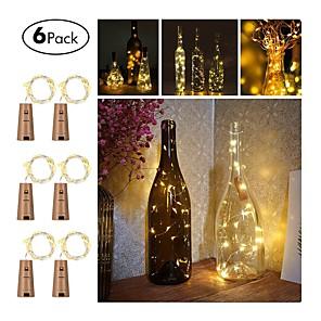 ieftine Fâșii Becurie LED-6pcs trei buton funcție buton 20 lampă șir 2m vin condus șir de lumină plută în formă de sticlă de vin stop lampă de lumină Crăciun partid decorare sticla opritor lumina