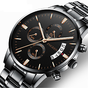 cheap Women's Watches-Men's Dress Watch Quartz Formal Style Stylish Stainless Steel Black / Silver 30 m Calendar / date / day Analog Luxury Fashion - Black Black / White Silver One Year Battery Life