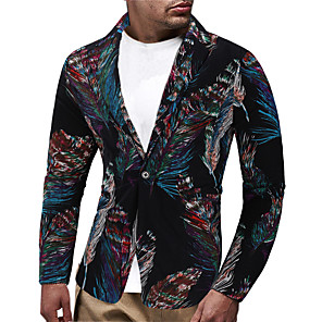ieftine Audio & Video-Bărbați Rever Shawl - Mărime EU / US Costume Jacket Floral Negru / Manșon Lung