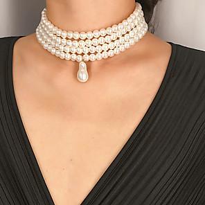 ieftine Colier la Modă-Pentru femei Perle Coliere cu Pandativ Lănțișor Coliere Layered La modă Modă Elegant de Mireasă Imitație de Perle Alb Perla ovala 32 cm Coliere Bijuterii 1 buc Pentru Nuntă Cadou Zilnic Concediu