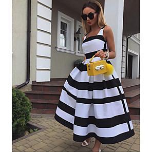 Χαμηλού Κόστους Print Dresses-Γυναικεία Λευκό Φόρεμα Βασικό Γραμμή Α Συνδυασμός Χρωμάτων Τετράγωνη Λαιμόκοψη Τ M