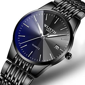 ieftine Ceasuri pt Rochii-Bărbați Ceas Elegant Quartz Stil Oficial Stl Lux Calendar Oțel inoxidabil Negru / Argint Analog - Negru / Albastru Negru / Argintiu Negru Un an Durată de Viaţă Baterie / Iluminat