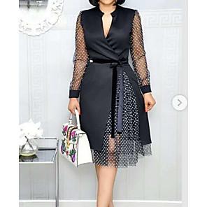 Χαμηλού Κόστους Print Dresses-Γυναικεία Λευκό Μαύρο Φόρεμα Γραμμή Α Πουά Λαιμόκοψη V M L