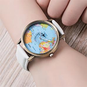 hesapli Bileklik Saatler-Kadın's Bilezik Saat Dünya haritası Quartz Bayan Dünya Haritası Desen Kapitoneli PU Deri Siyah / Beyaz / Mavi Analog - Beyaz Siyah Sarı Bir yıl Pil Ömrü / Tianqiu 377
