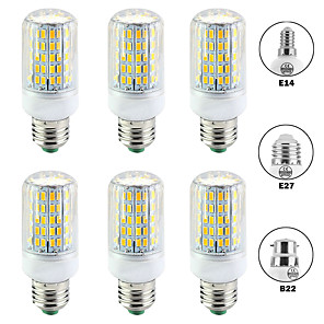 저렴한 LED 콘 조명-6PCS 15 W LED 콘 조명 1500 lm E14 B22 E26 / E27 T 96 LED 비즈 SMD 5730 뉴 디자인 따뜻한 화이트 화이트 220-240 V 110-120 V
