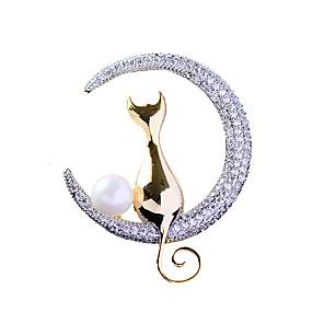 זול סיכות-בגדי ריקוד נשים תפס לשיער לְחַבֵּב חתול פאר טרנדי אלגנטית פנינה ציפוי זהב יהלום מדומה סִכָּה תכשיטים זהב עבור חתונה ארוסים מתנה עבודה הבטחה
