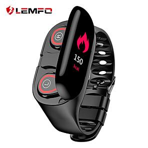 lemfo m1 smart armbånd med to sanne trådløse ørepropper bt fitness tracker-støtte varsler & hjertefrekvens fargerik LCD-skjerm vanntett smartur
