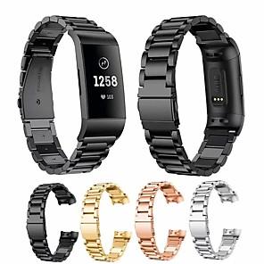 Недорогие Ремешки для спортивных часов-Ремешок для часов для Fitbit Charge 3 Fitbit Дизайн украшения Нержавеющая сталь Повязка на запястье