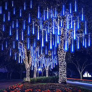 ieftine Fâșii Becurie LED-4 pachet 30cm x8 12inch lămpi cu șnur 576 led cadere de ploaie lumini pentru petrecere de vacanță bradul de Crăciun decorare impermeabilă us eu plug uk adaptor