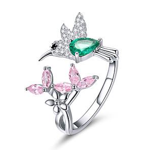 povoljno Prstenje-100% 925 srebra podesiva hummingbird poklon svjetlosni prozirni cz prstenovi za žene srebrni nakit