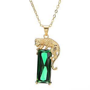 ieftine Colier la Modă-Pentru femei Verde Onyx Coliere cu Pandativ Lung Tigru Modă Alamă Placat Auriu Verde Deschis 40+5 cm Coliere Bijuterii 1 buc Pentru Cadou Zilnic