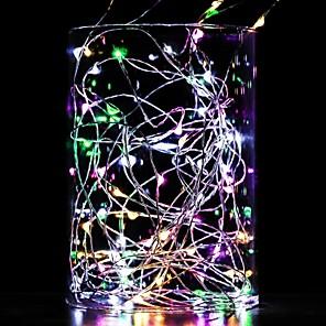 baratos Fitas e Mangueiras de LED-Luzes da corda 10 m 100 leds branco quente branco azul à prova d 'água fio de cobre decorativo linha de prata aa baterias alimentado 1 pc